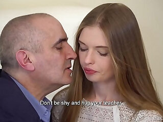 Tricky Old Teacher Sexy ebony babe gives her old teacher a fantastic blowjob